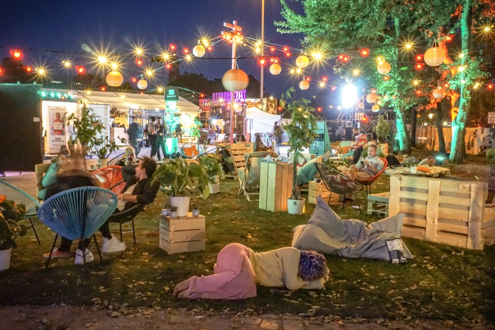 Area to relax and see art installations at Festival Village, Reeperbahn Festival