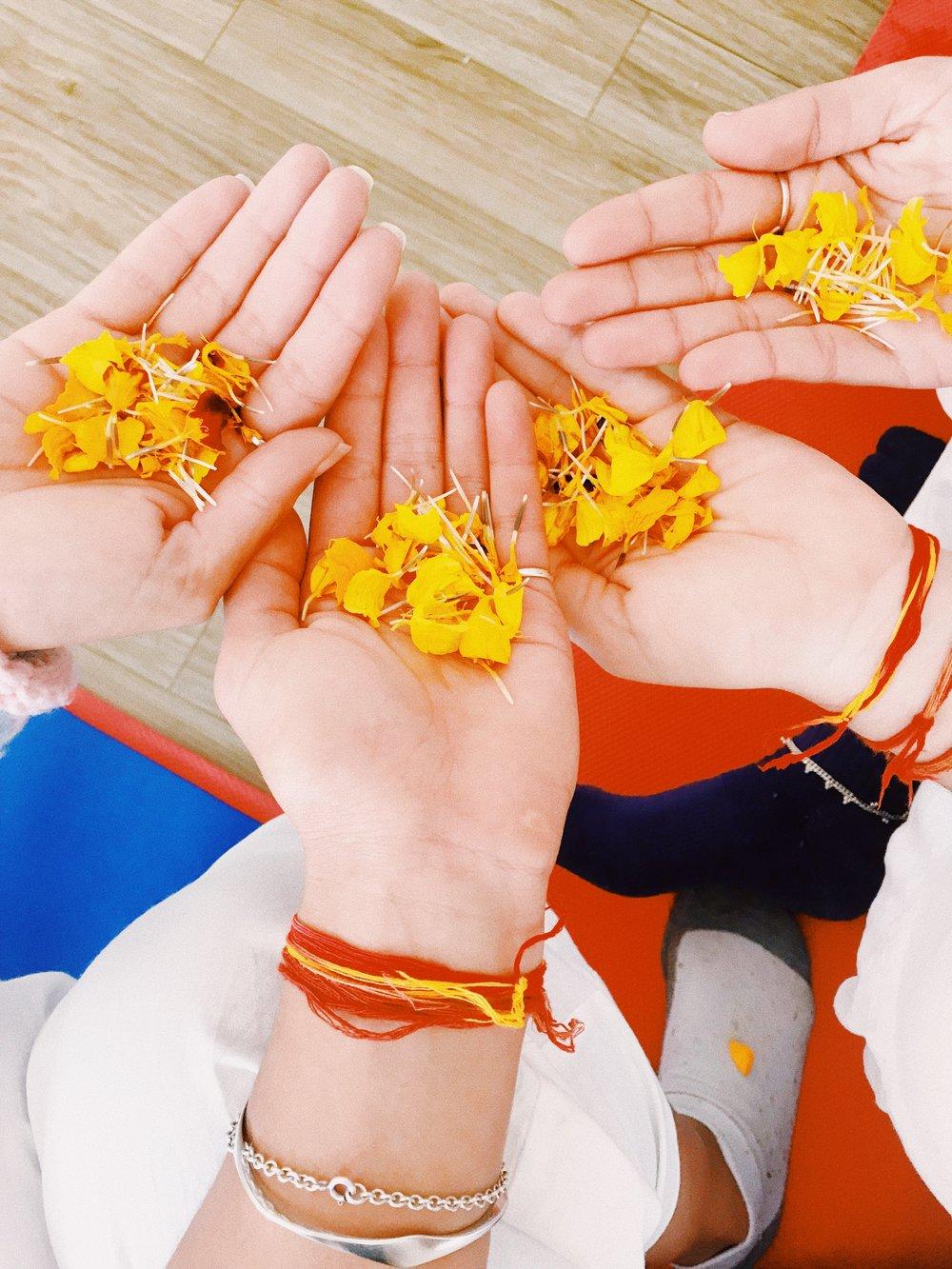 ceremonial flower petals