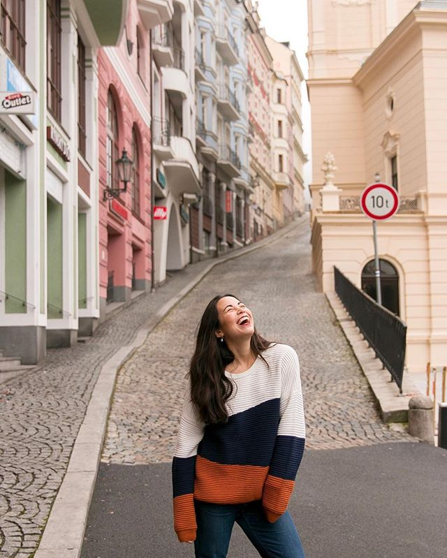 Travels for happiness 😄 Speaking of travel, I've not been keeping up with my blog as of late, but that's because I'm working on some thangs ✨ updates coming soon. Here's a pic from a couple weeks ago when I went to the spa city of Karlovy Vary AKA Carlsbad, Czech Republic 🇨🇿 on behalf of @bohotravels_com. Photo taken by my talented potato in crime, 🥔 @jessicasafko . . . . . #czechrepublic #visitcz #czechtourism #europe #ig_europe #travel #wanderlust #globelletravels #sheisnotlost #dametraveler #damestravel #travelinladies #iamtb #darlingescapes #womenwhowander #babeswhowander #thetravelwomen #wearetravelgirls #gltlove #girlslovetravel #lostgirlonearth