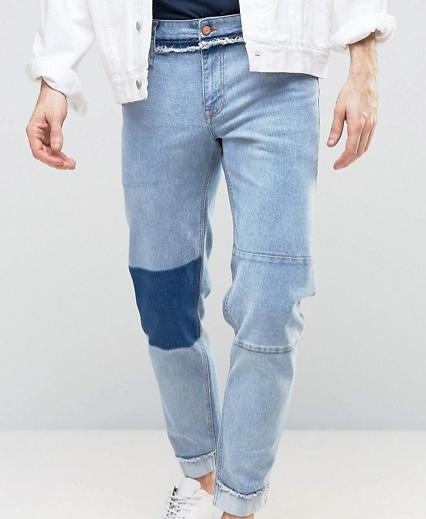 ASOS Stretch Slim Ankle Grazer Jeans in Vintage Blue Mid Wash