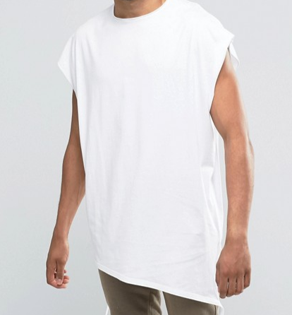 ASOS Super Oversized T-Shirt With Raw Neck And Shaped Hem With Hanging Ties