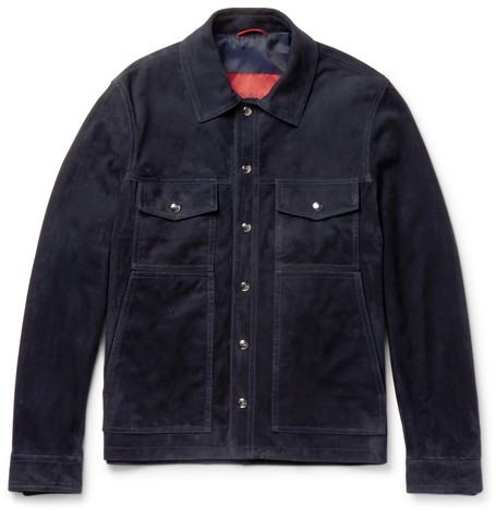 Isaia Suede Shirt Jacket