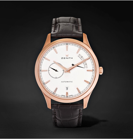 ZENITH - POWER RESERVE 40MM 18-KARAT ROSE GOLD STAINLESS STEEL AND ALLIGATOR WATCH