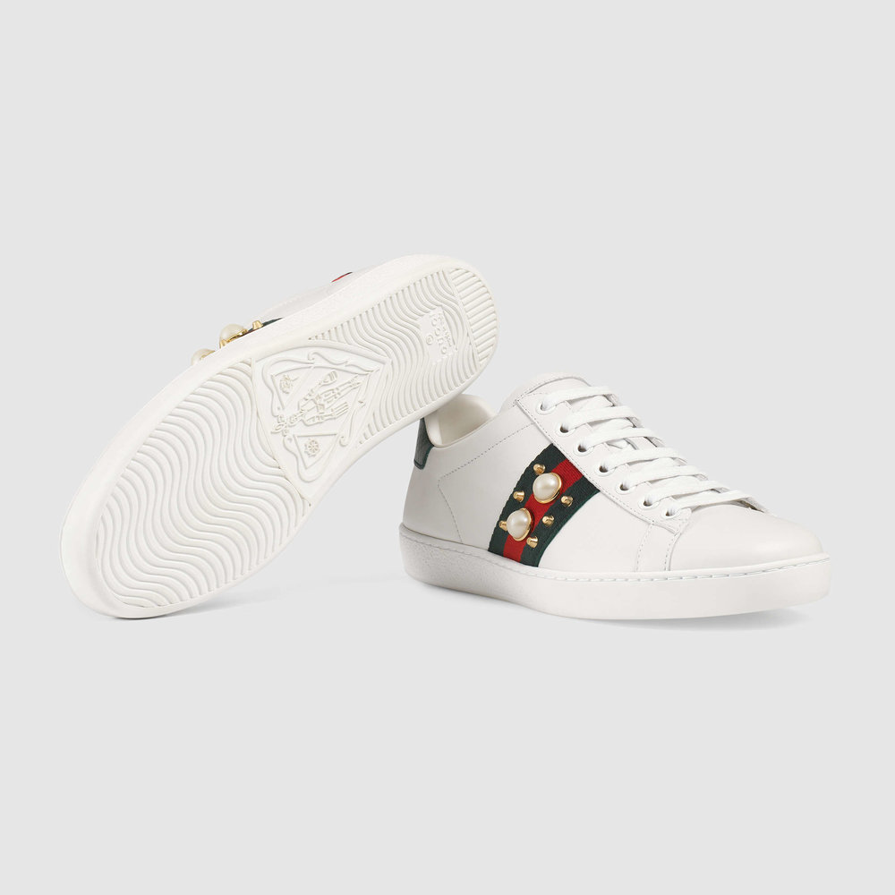 Gucci Ace Studded Leather Low Top Sneaker