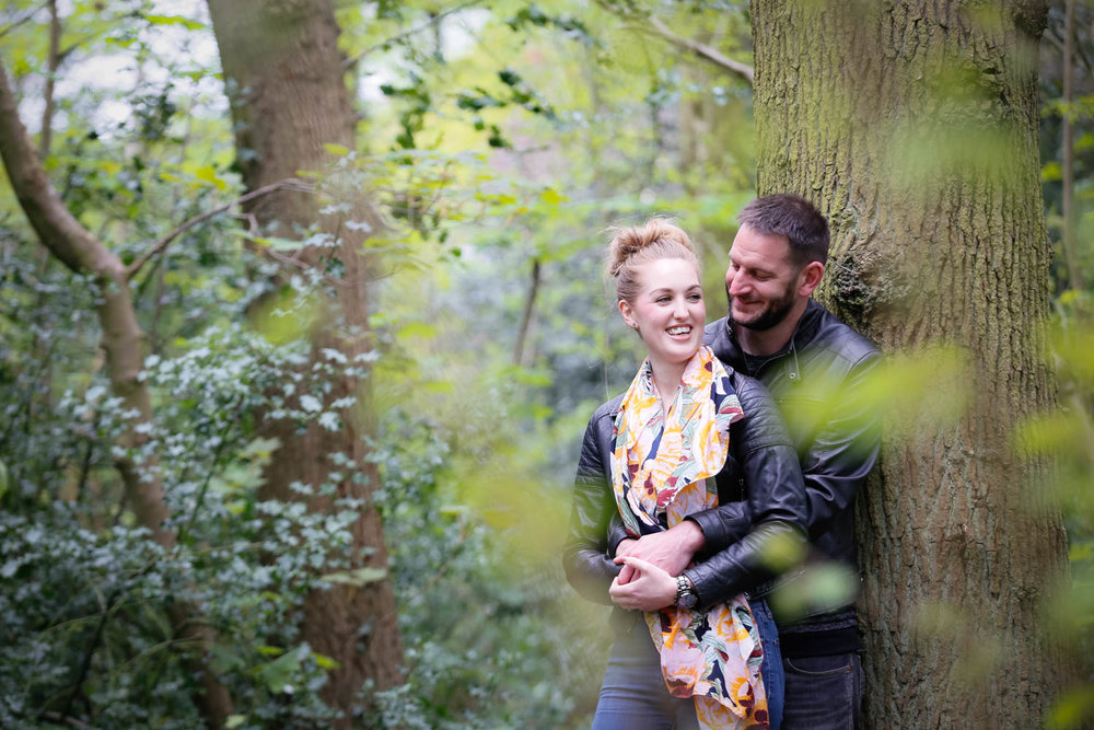 It was great meeting up with Steph and Andy for their pre-wedding shoot. The couple live in Woodthorpe, just outside York and suggested that we go to their local nature reserve, Acomb Wood, for the shoot. I always let couples choose the location of their pre-wedding shoot so that it is somewhere special to them, and Acomb Woods is a place that Steph and Andy spend a lot of time together walking their dog, Paddy - A special mention should go to Paddy who was such a star, until that is when he took the opportunity whilst I was lying down on the ground to get a shot to kick dirt up into my face! It was very funny and did provide some great shots of Steph and Andy laughing....and it'll teach me for lying down to get a shot when there are dogs around!   Steph and Andy are getting married at the Merchant Adventurers' Hall in York which I am super excited about photographing my first wedding at, especially when I learnt that the Fossgate festival is taking place on the same day they are getting married, so there should be plenty of photo ops around York on that day. It should be a great day!