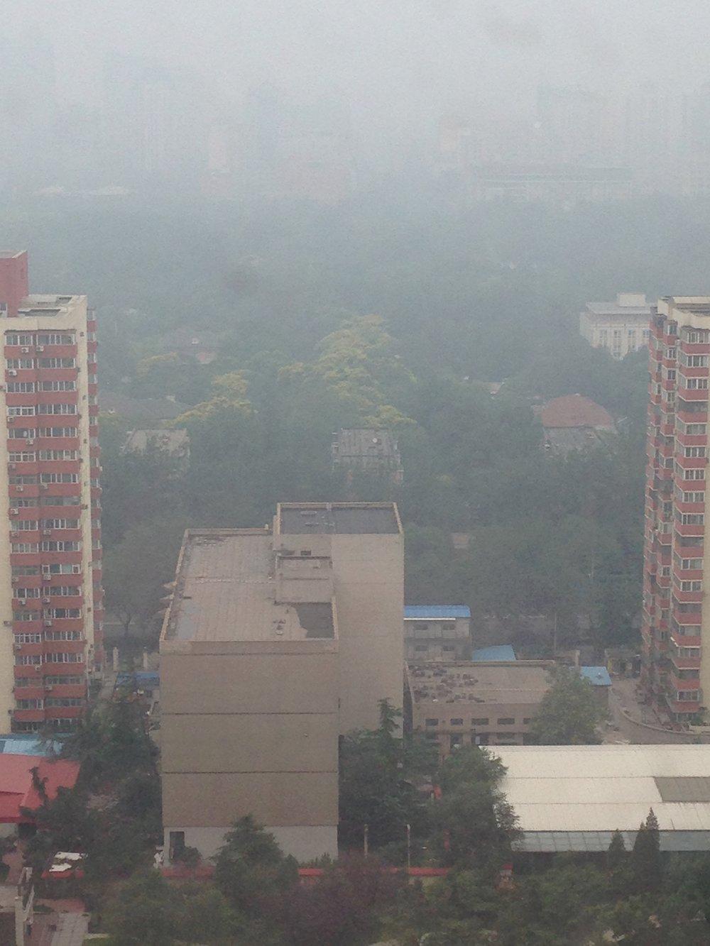 Heavy smog blankets Ritan Park