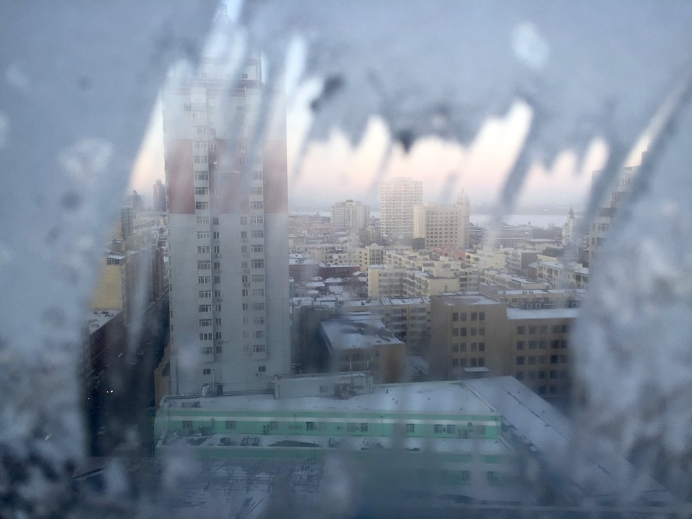 A frigid Harbin as viewed through a frozen window