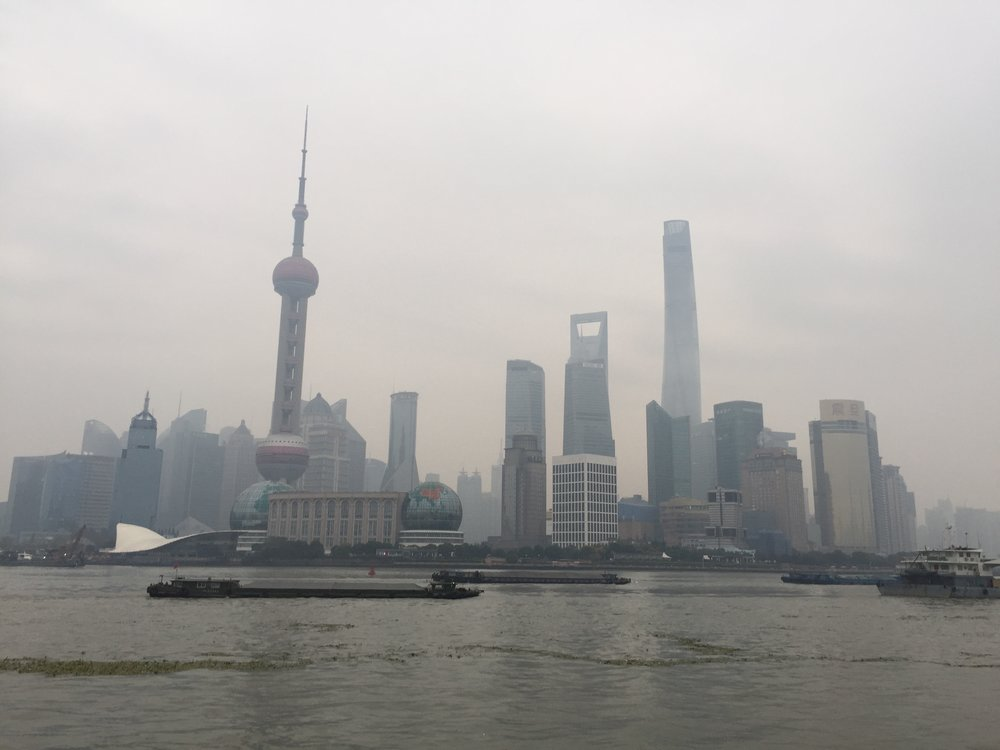The Pudong financial district, as viewed from across the Huangpu River