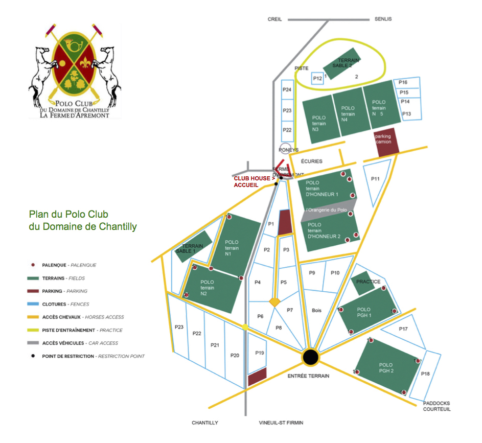 Plan du Polo Club du Domaine de Chantilly Plan of Chantilly Polo Club