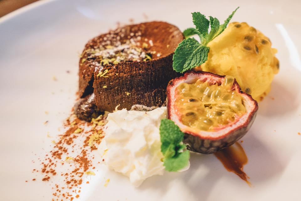 Dessert Volver, volcan à la confiture de lait