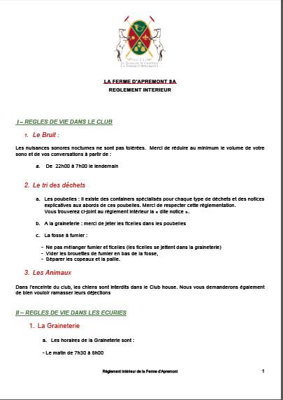.... REGLEMENT INTERIEUR FERME APREMONT 2018 &  CONDITIONS DE PARTICIPATIONS DES TOURNOIS .. CONDITIONS OF PARTICIPATIONS ....