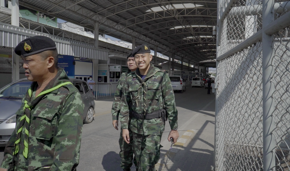 Thai military at 'Friendship Bridge', the only open land border crossing between Thailand and Myanmar.