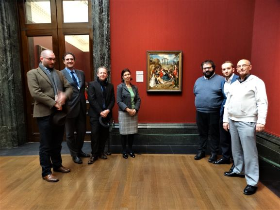 L-R: Sebastian Morello (SW-London Adviser at the CCF), Gabriele Finaldi (Director of the National Gallery), Dr Mark Nash (Director of the CCF), Susan Foister (Deputy Director), Pierpaolo Finaldi (Formation Adviser for SE-London at the CCF) Theo Howard (Evangelization Coordinator) and Graham Wallis (Centre Administrator) meet at a CCF Staff Study Day led by at the National Gallery. The picture in the background is the 'Lamentation with Donors and Saints' by Cornelius Engebrechtsz, currently on loan from the Archdiocese of Southwark