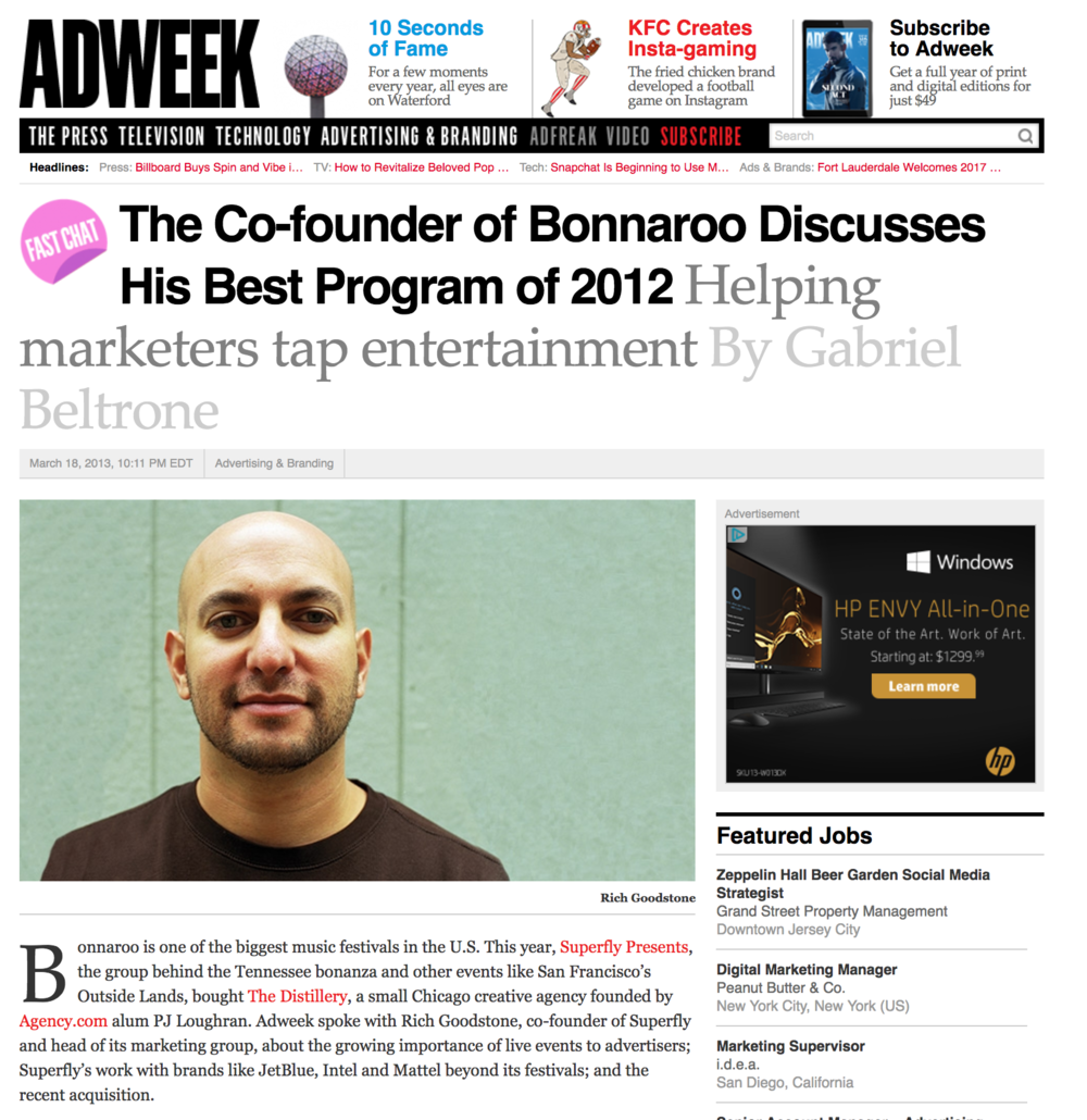 Ad Week, Distillery acquisition announcement