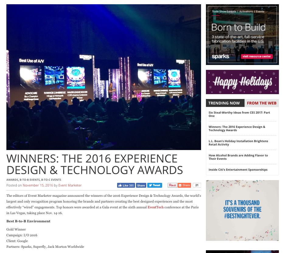 Google I/O 2016, Event Marketer Award