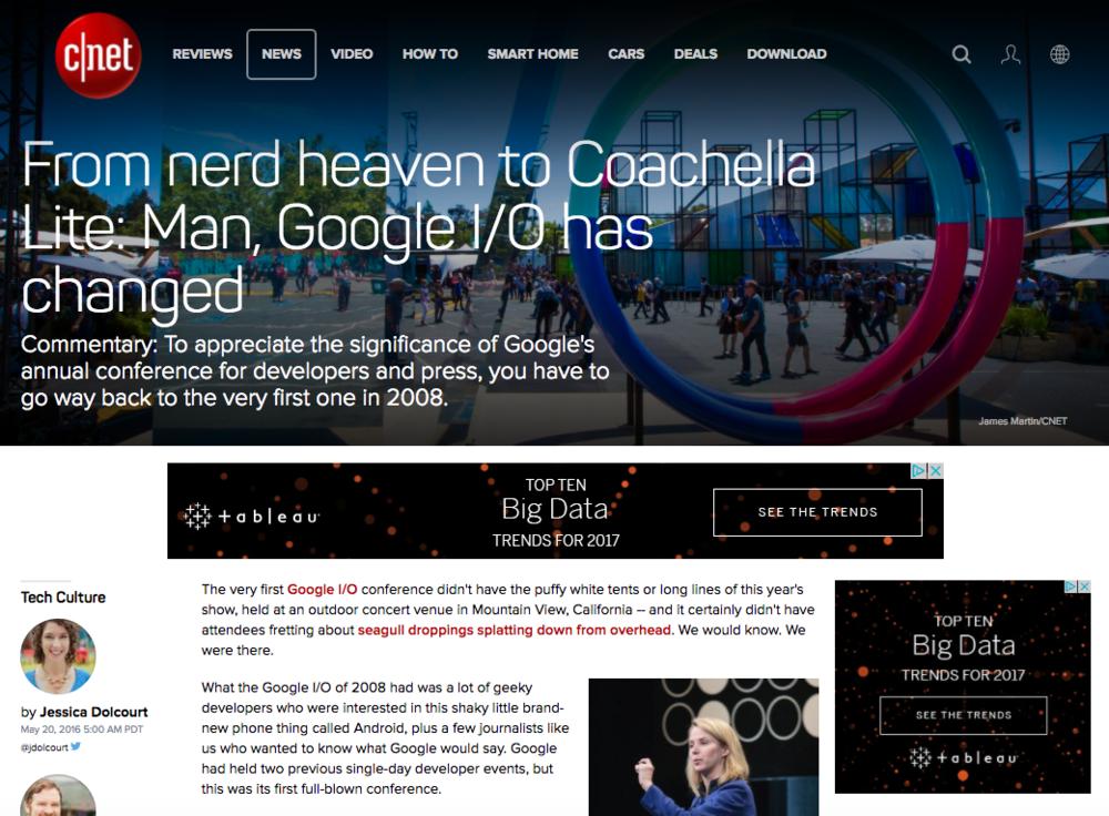 Google I/O 2016, C Net feature