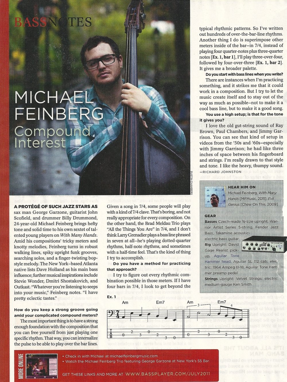 July 2011, Bass Player Magazine feature
