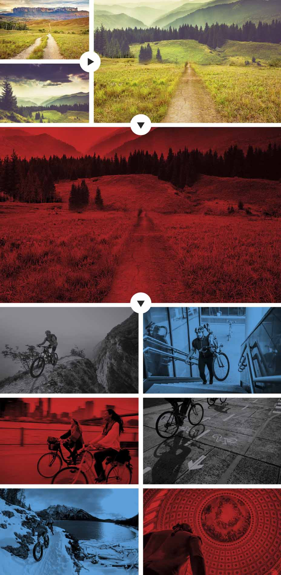 Each image on the site has been crafted to the overall look of the People for Bikes brand. Many images are seamlessly assembled from multiple source images to create the perfect context for telling the People for Bikes story.