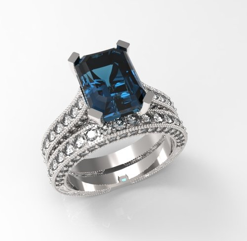 Diamond And London Blue Topaz Engagement Ring Set In 14k White Gold