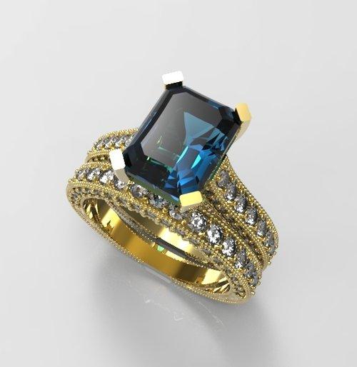 Diamond London Blue Topaz Engagement Ring Set In 14k Yellow Gold