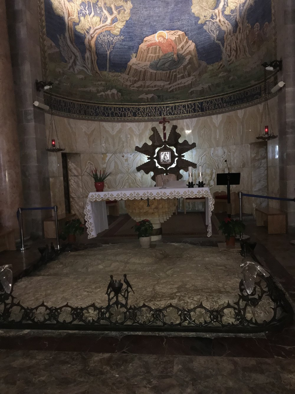 The stone slab where Jesus prayed in the Church of Gethsamane