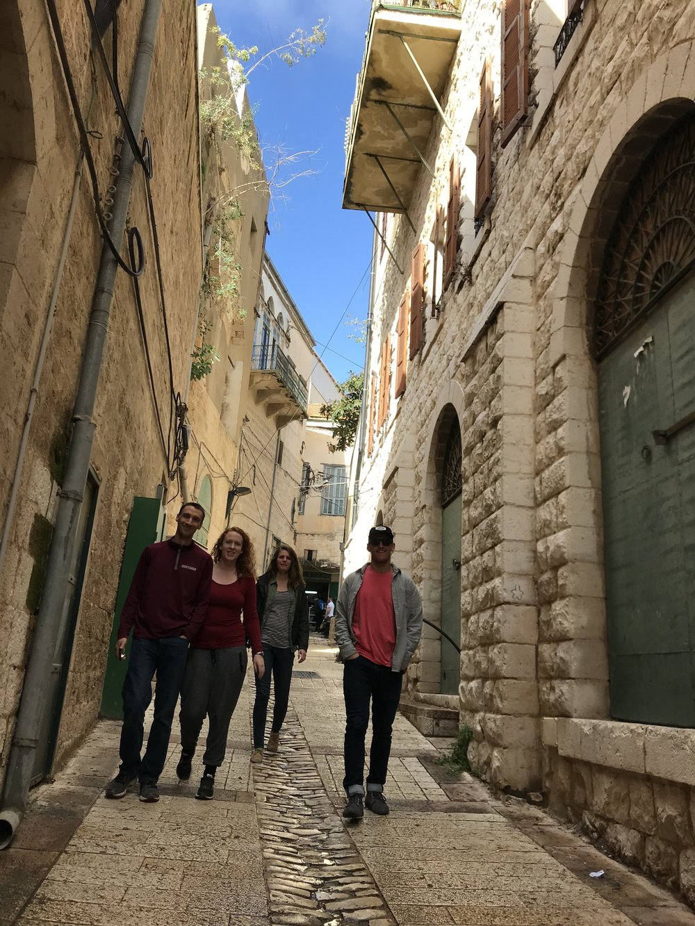 Walking on a side street in Nazareth