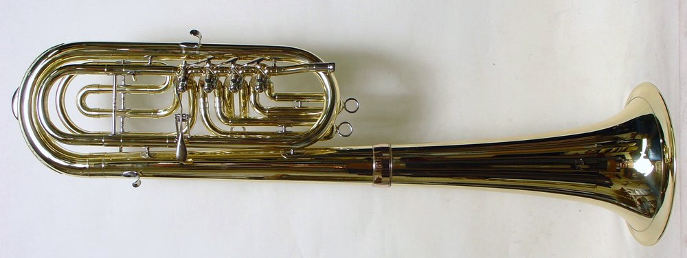 Bb bass (euphonium) with bell over the shoulder