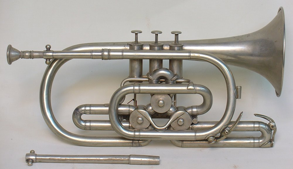 Bb Cornet with Pushrod Rotary Valves