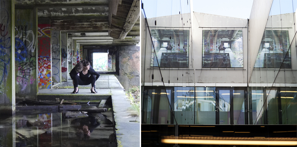 St Peter's Seminary. Photograph. 2011   Left: detail. Right: site specific installation at the Laban Centre / architects Herzog and de Meuron