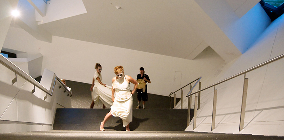 Staircase Sonambulism. Performance. 2011. Performed by Jaimie Henthorn, Elizabeth LeBlanc, and Andrew Nast