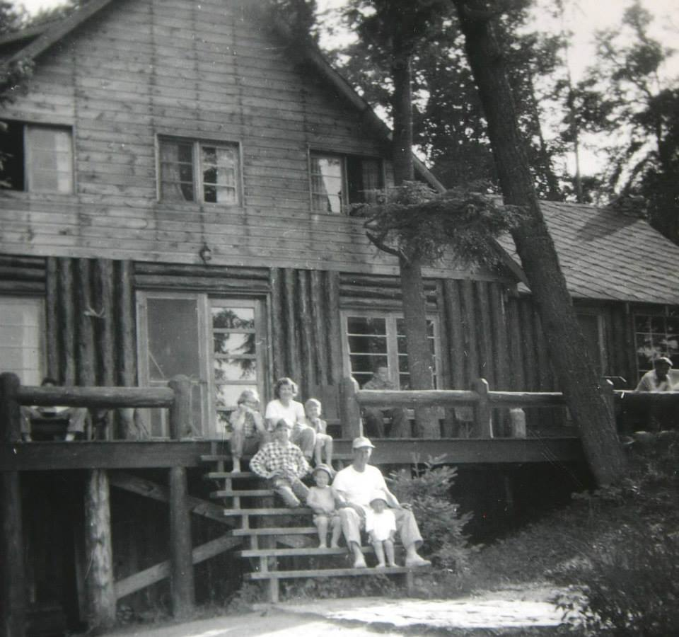 MacDonald Family at the Main Lodge (built in 1940) - now residence of Limberlost Lodge Hosts, Office and Tuck Shop