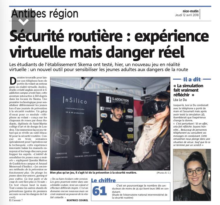 Insilico newspaper article VR Road Safety
