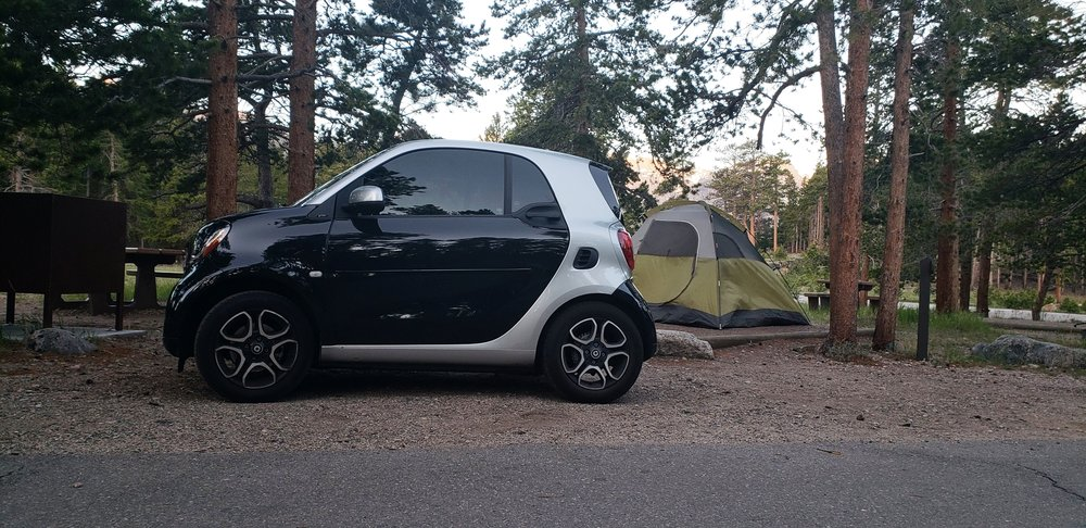The Smart Car Looking Fantastic Next to Our Campsite in Rocky National Mountain Park
