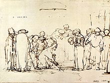 Rembrandt's drawing of the scene with the woman caught in adultery