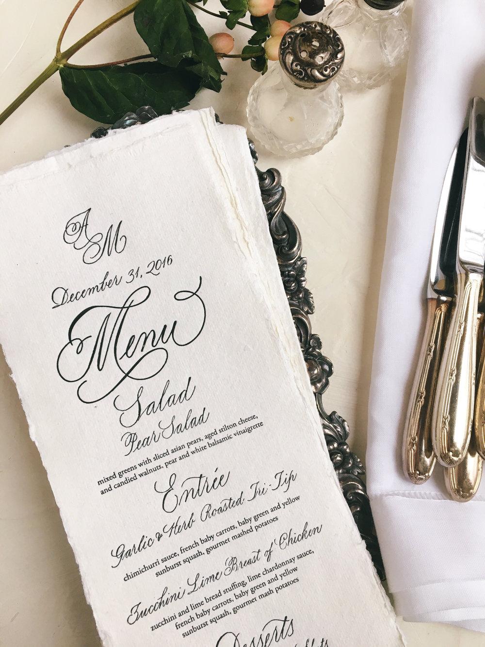 Menu Design & Calligraphy: Joi Hunt
