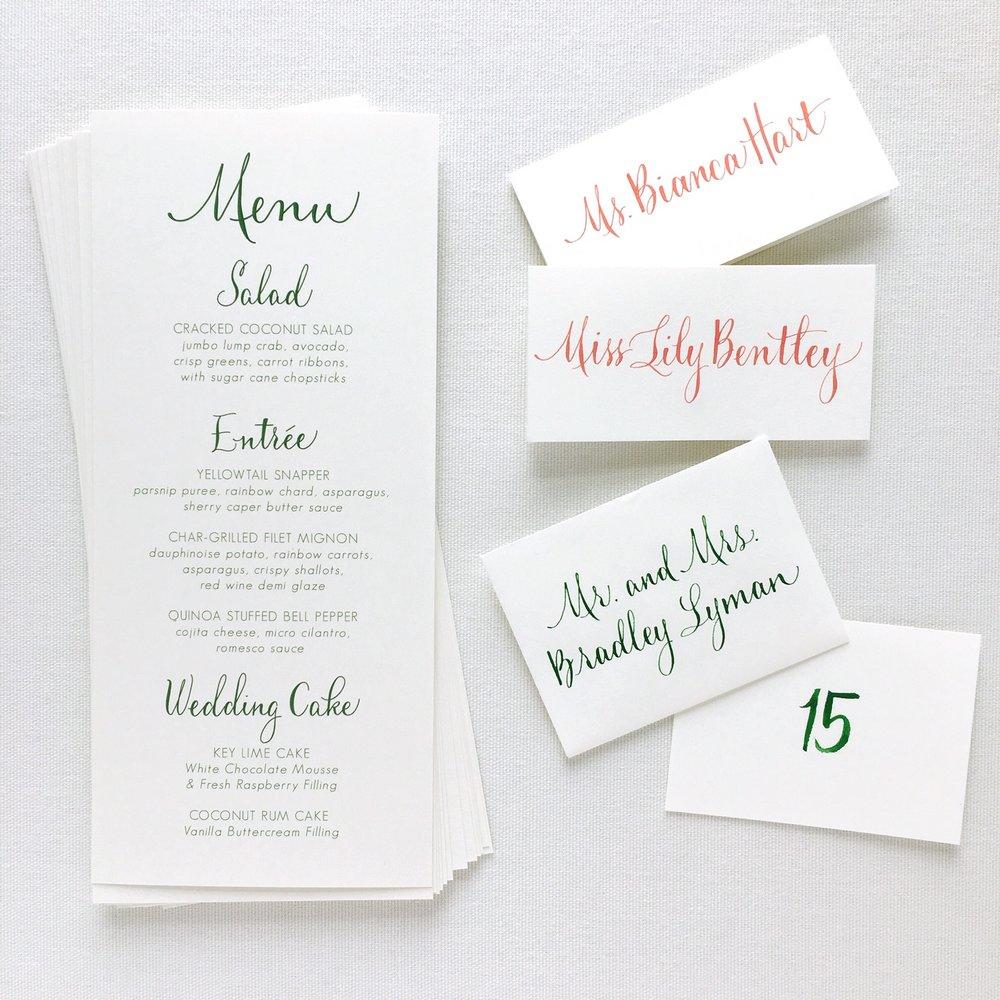 Menu Design & Calligraphy:  Joi Hunt  Menu Printing:  Letterpress by Lydia