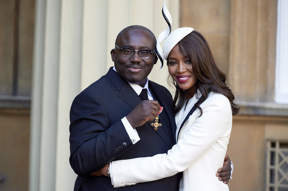 Enninful accompanied by close pal, Naomi Campbell while receiving his OBE at Buckingham Palace last year. Photograph: Reuters.