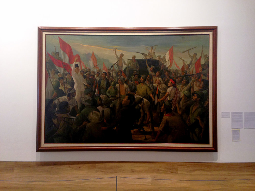 Bung Karno amidst the Revolutionary War  (1966) by Dullah