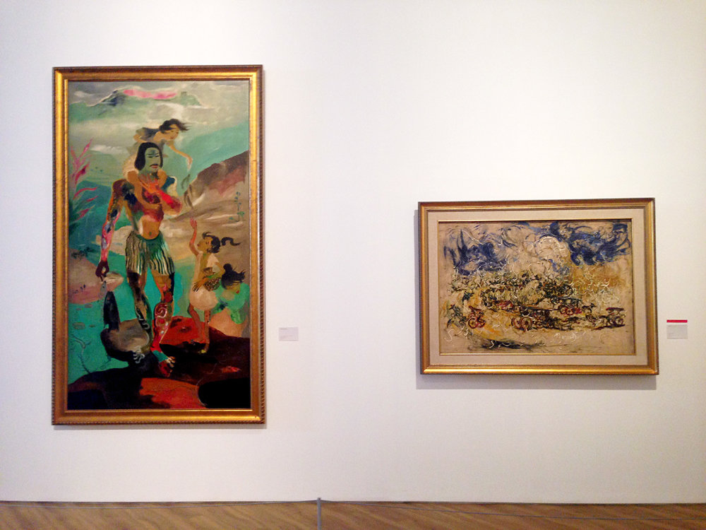 From left to right:  Happy Family  (date unknown) by Hendra Gunawan and  Carriages  (1968) by Affandi