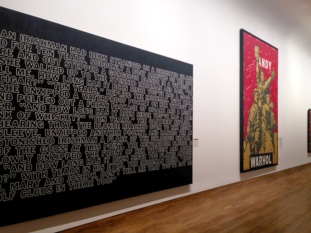 From left to right:  Untitled (Jokes Painting)  (2009) by Richard Prince and  Andy Warhol  (2002) by Wang Guangyi