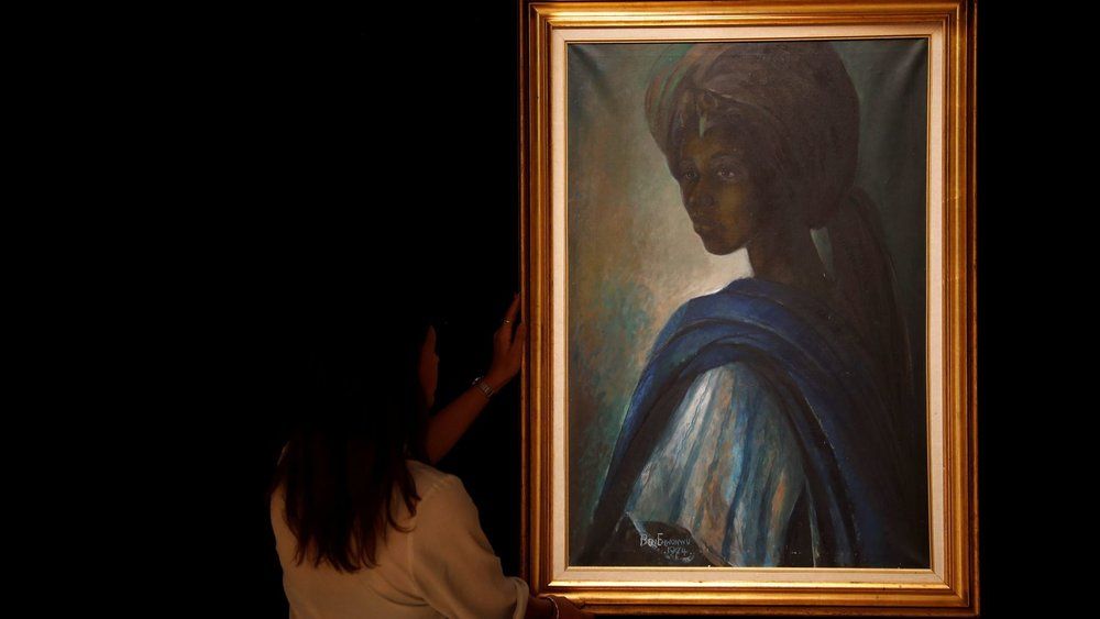 Mysterious painting of the Ife royal Princess Adetutu Ademiluyi by Nigeria painter Ben Enwonwu MBE.jpg