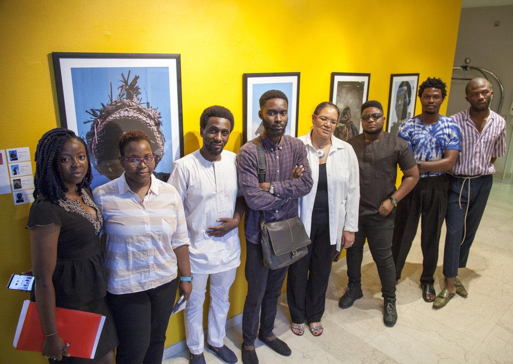 (L-R) Assitant Curators,Moni Oloke & Nneoma Ilogu, Curator (A Whitespace Creative Agency), Papa Omotayo, Gbam artist, Noma Osula, Curator (SMO Contemporary Art), Sandra Obiago, Gbam artists, Lex A.