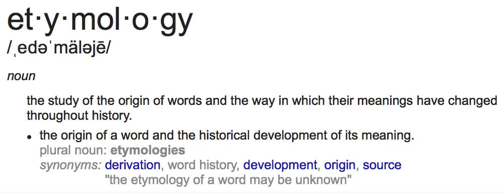 """Etymology"" defined via Google"