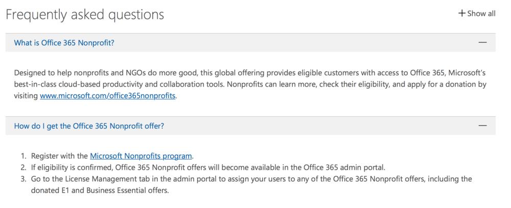 Microsoft for Nonprofits Program