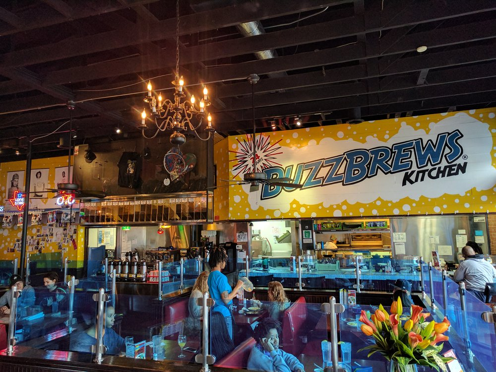 BuzzBrews, located at   2801 Commerce St, Dallas, TX. Open 24 hrs.