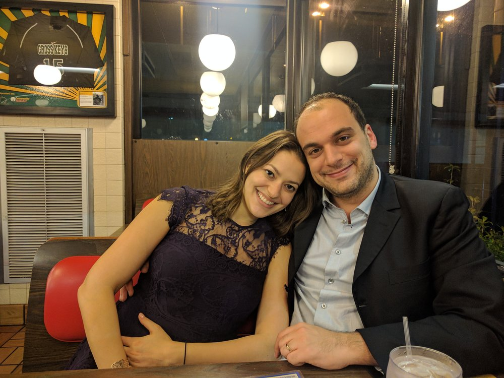 """Newlyweds Jean Petite and Crystal Nancy, moments after they said """"I do"""" at their favorite Waffle House."""