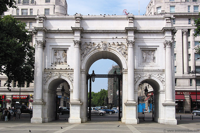 The Marble Arch in its current location away from Buckingham Palace