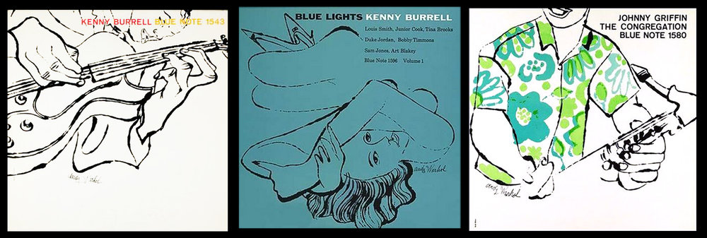 Three different collaborations between Andy Warhol and Reid Miles for Blue Note Records