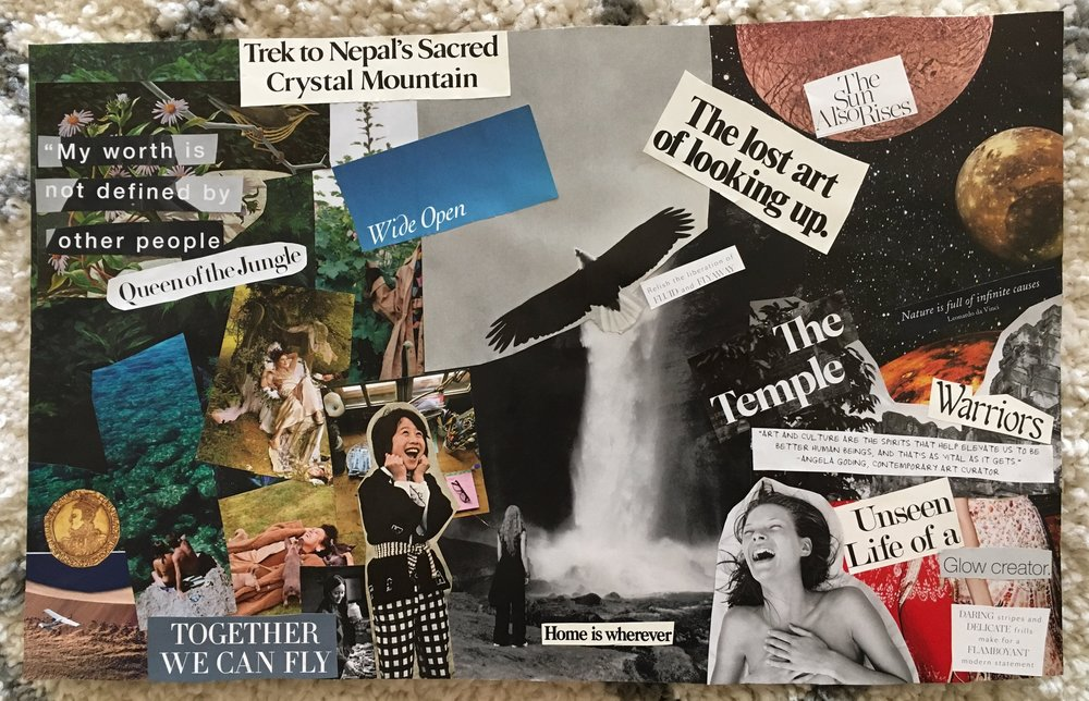 My vision board created on April 18, 2018 ~ Where I'm at today.