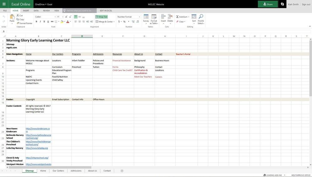 Excel Sitemap